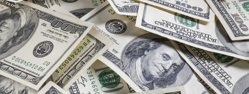set of american dollar bills as background