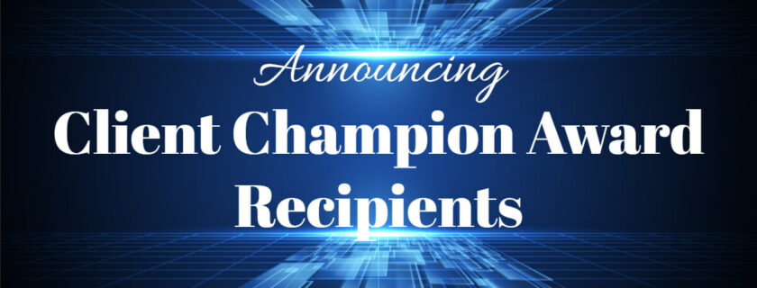 Image of banner announcing the 2019 Client Champion Awards.
