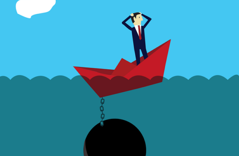 Image of a man in a small boat with a large anchor, representing the weight of tax debt and how a Fishers, Indiana OIC attorney from Camden & Meridew can answer your questions about offer in compromise and forge the best path to resolve your debt.
