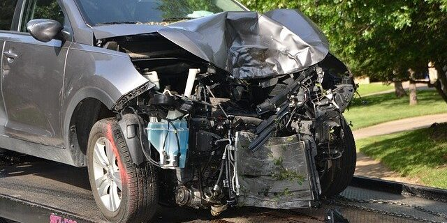 Image of a car significantly damages in an accident, representing how a personal injury attorney from Camden & Meridew, P.C. can help get you with an Indiana personal injury lawsuit to fight for your compensation.